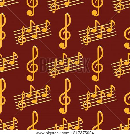 Vector music note melody symbols seamless pattern background vector illustration waves sound graphic clef signature. Crotchets swirl line musical classic pattern.