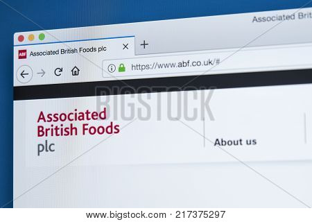 LONDON UK - NOVEMBER 22ND 2017: The homepage of the official website for Associated British Foods plc - the British multinational food processing and retailing company on 22nd November 22nd 2017.