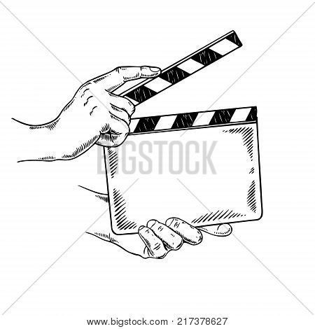 Clapperboard engraving vector illustration. Scratch board style imitation. Hand drawn image.