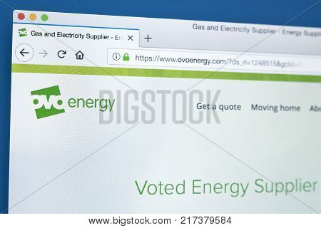 LONDON UK - NOVEMBER 21ST 2017: The homepage of the official website for OVO Energy - the energy supplier based in the UK on 21st November 2017.