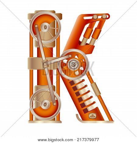 The letter K of the Latin alphabet, made in the form of a mechanism with moving and stationary parts on a steam, hydraulic or pneumatic draft. Isolated freely editable object on white background.