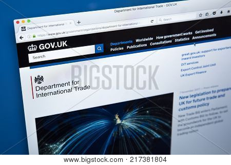LONDON UK - NOVEMBER 17TH 2017: The homepage of the official website for the Department of International Trade - the UK Government department on 17th November 2017.