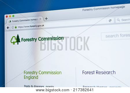 LONDON UK - NOVEMBER 17TH 2017: The homepage of the official website for the Forestry Commission - the non-ministerial UK government department responsible for forestry in England and Scotland on 17th November 2017.