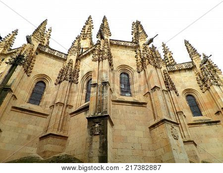 Stunning decorated facade of the Segovia Cathedral, Segovia, Spain