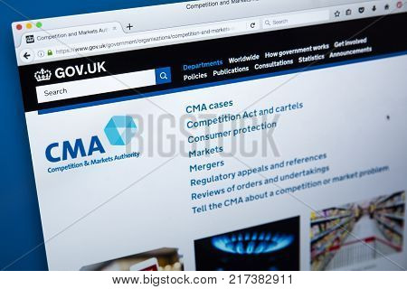 LONDON UK - NOVEMBER 17TH 2017: The homepage of the official website for the Competition and Markets Authority - the non-ministerial UK government department on 17th November 2017.