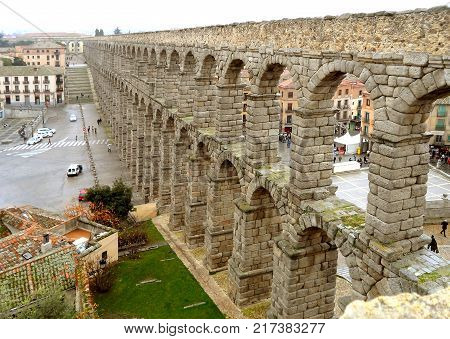 The Aqueduct of Segovia, UNESCO World Heritage Site in Segovia, Spain