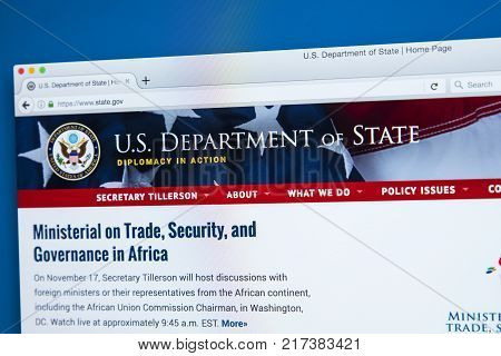 LONDON UK - NOVEMBER 17TH 2017: The homepage of the official website for the US Department of State often referred to as the State Department on 17th November 2017.