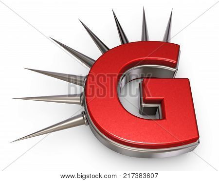 letter g with metal prickles on white background - 3d illustration