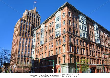 State Tower Building was built in 1927 in downtown Syracuse, New York State, USA. This Art Deco style building is still the tallest building in Syracuse.