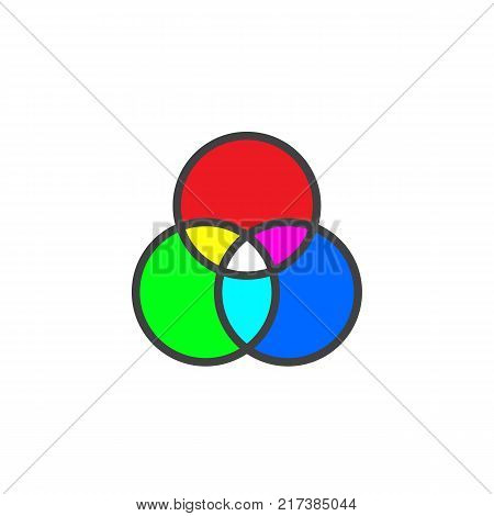 RGB color mode wheel mixing filled outline icon, line vector sign, linear colorful pictogram isolated on white. Symbol, logo illustration. Pixel perfect vector graphics