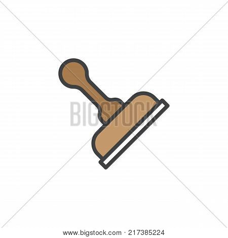 Stamp filled outline icon, line vector sign, linear colorful pictogram isolated on white. Rubber stamp symbol, logo illustration. Pixel perfect vector graphics