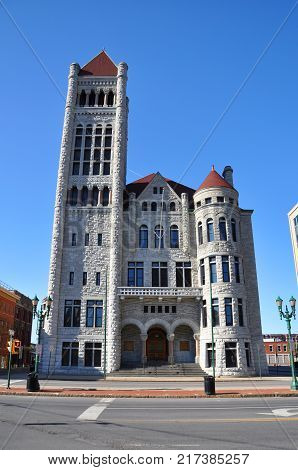 Syracuse City Hall was built in 1893 with Romanesque Revival architectural style. The building is served as the center of Syracuse government in downtown Syracuse, New York State, USA.