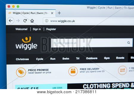 LONDON UK - NOVEMBER 20TH 2017: The homepage of the official website for Wiggle - the online retailer of cycle run swim and outdoor equipment on 20th November 2017.