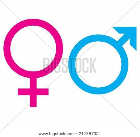 Symbols of women and men with a white background
