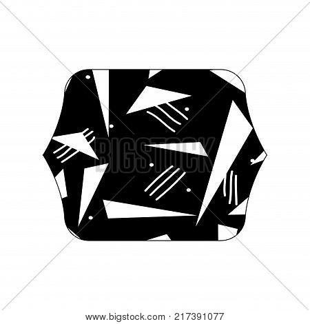 contour line quadrate with memphis abstract design background vector illustration