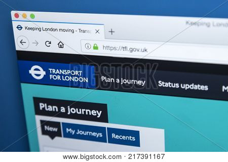 LONDON UK - NOVEMBER 20TH 2017: The homepage of the official website for Transport for London - the local government body responsible for the transport system in Greater London on 20th November 2017.