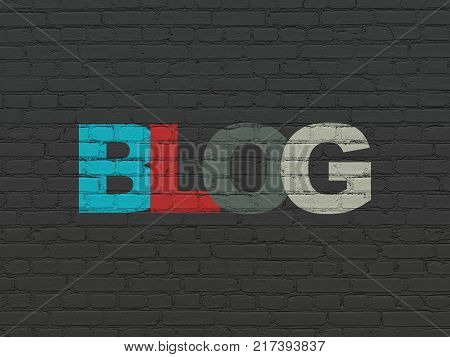 Web development concept: Painted multicolor text Blog on Black Brick wall background