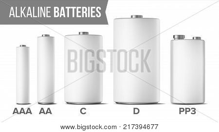 Alkaline Batteries Mock Up Set Vector. Different Types AAA, AA, C, D, PP3, 9 Volt. Classic Modern Realistic Battery. White Clean Empty Template. Isolated Illustration