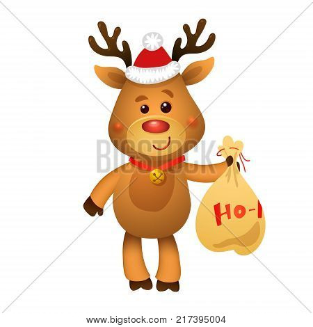 Santa s Reindeer Rudolph and Santa's Gifts. Vector illustrations of Reindeer Rudolf Isolated on White Background.