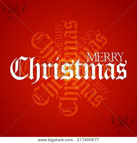 Christmas Red Textured Background with Merry Christmas Decorative Text and Bow
