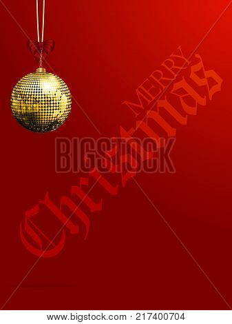 Red Festive Portrait Background with Golden Disco Ball Bauble and Bow and Decorative Merry Christmas Text