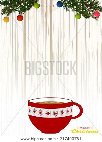 Christmas Decorated Red Coffee Cup Over Shaded Wood Background with Pine Tree Branches and Baubles