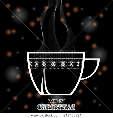 Festive Glowing Blaack Background with Decorated Coffee Tea Cup White Silhouette and Decorative Text