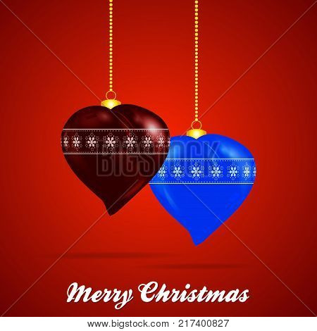 3D Illustration of Heart Shaped Christmas Baubles with Golden Chains and Decorative Text Over Red Background