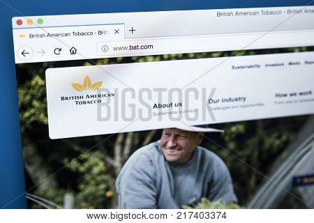 LONDON UK - NOVEMBER 25TH 2017: The homepage of the official website for British American Tobacco - the British multinational tobacco company headquartered in London on 25th November 2017.