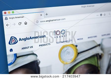 LONDON UK - NOVEMBER 25TH 2017: The homepage of the official website for Anglo American plc - the multinational mining company based in South Africa and the UK on 25th November 2017.