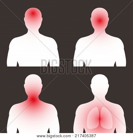 Different symptoms of colds flu. Stage. The outline of a man with diseased organs: headache runny nose respiratory tract lungs. Vector illustration.
