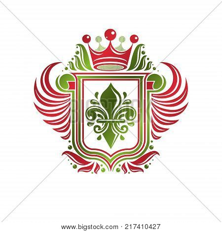 Vintage Heraldic Emblem Created With Lily Flower Royal Symbol. Eco Friendly Product Symbol, Environm