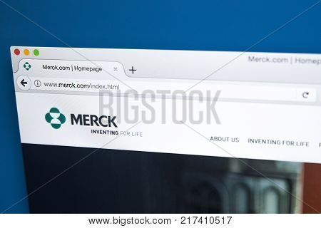 LONDON UK - OCTOBER 17TH 2017: The homepage of the official website for Merck & Co - the American pharmaceutical company and one of the largest pharmaceutical companies in the world on 17th October 2017.