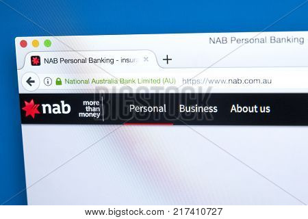 LONDON UK - OCTOBER 17TH 2017: The homepage of the official website for the National Australia Bank on 17th October 2017.