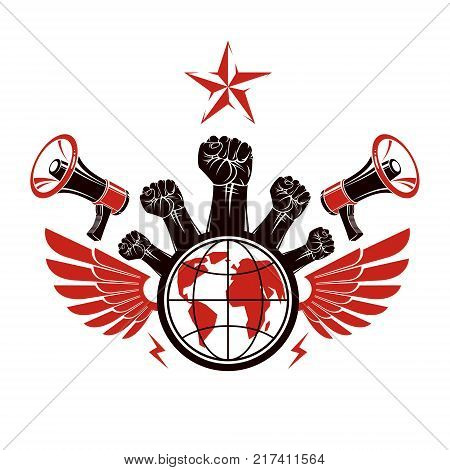 Marketing banner composed with loudspeakers raised clenched fists and Earth planet vector illustration. Propaganda as the means of influence on global public opinion.