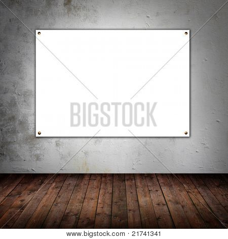 Room with empty white board