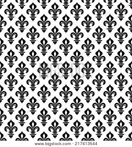 Royal heraldic Lilies (Fleur-de-lis) -- wallpaper background, seamless pattern.