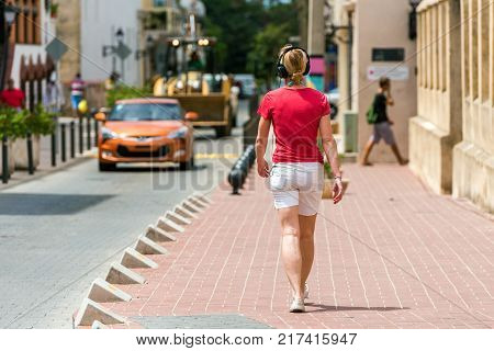 View Of The Historic Street Of The City Santo Domingo, Dominican Republic. Copy Space For Text