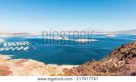 Panorama of the lake Mead near Hoover Dam. Arizona. USA