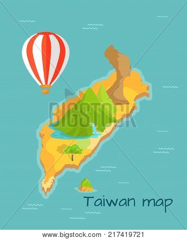 Taiwan map with Keelung and Dragon mountain with waterfall on the island. Airballon flying in sky. Vector illustration of chinese land in Pacific ocean with sightseeing in flat design cartoon style