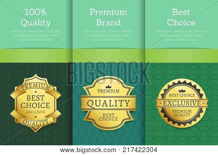 100 quality premium brand best choice set of posters with text on colorful backgrounds vector illustration banners collection with golden labels