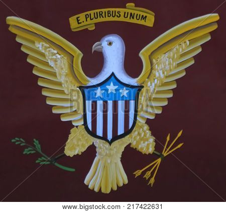 An Archaic Painted Depiction of the Great Seal of the United States of America