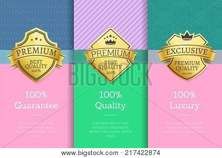 100 guarantee quality luxury set of posters with golden labels, certificate stamps isolated on abstract backgrounds vector guarantee stickers