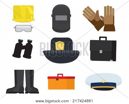 Vector illustration of safety glasses and helmet, welding mask, binoculars and cap, lifesavers hat, rubber mittens and boots, dark suitcase, tool box.