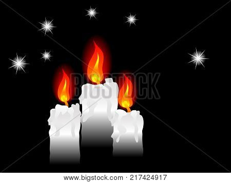Three white candles on the black background