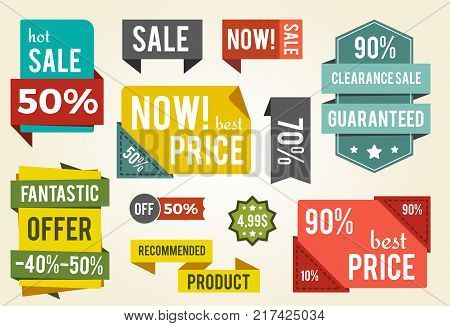 Now best price sale advert isolated on white background. Vector illustration color signs and badges with discount clearance, buy now and specia offer