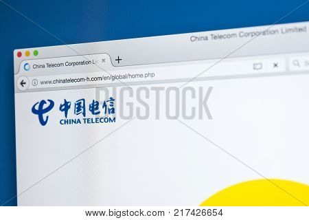 LONDON UK - OCTOBER 21ST 2017: The homepage of the official website for China Telecom Corp - the Chinese telecommunications company on 21st October 2017.