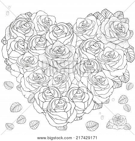 Heart Shaped Pattern For Coloring Book With Roses Floral Retro Doodle