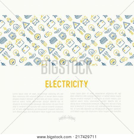 Electricity concept with thin line icons: electrician, bulb, pylon, toolbox, cable, electric car, hand, solar battery. Vector illustration for banner, web page, print media.