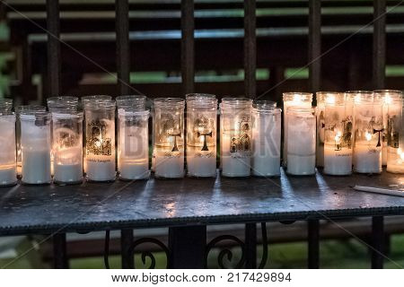 View On The Table With Candles In Tarragona Cathedral (catholic Cathedral), Catalunya, Spain. Copy S